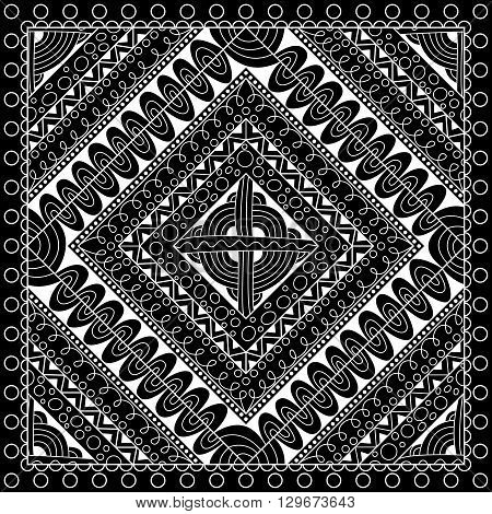 Black and white abstract bandana print withgeometrical ornament. Kerchief square pattern design. Design for silk neck scarf kerchief hanky