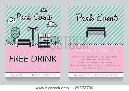 Trendy minimalistic icon style outdoor park event themed discount coupon advertising flyer gift voucher customizable template. Replace text add your logo to customize template.