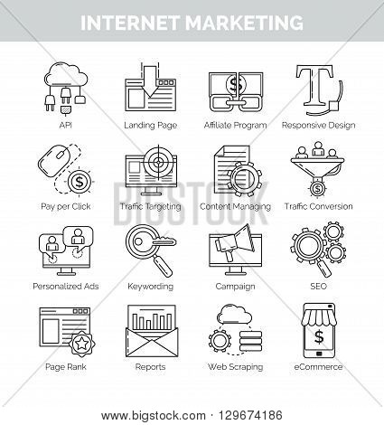 Set of modern thin line concept icons for internet marketing, seo and e-commerce. Affiliate marketing, promotional campaign pay per click and other terms included.