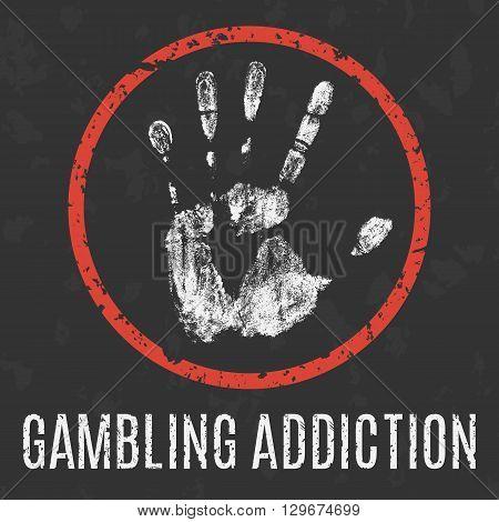 Conceptual vector illustration. Global problems of humanity. gambling addiction