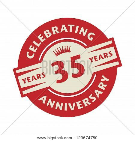 Stamp or label with the text Celebrating 35 years anniversary, vector illustration