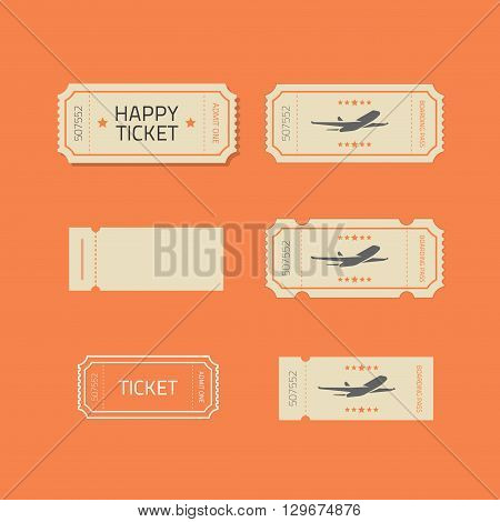 Ticket icons vector set isolated on orange background, ticket stub line outline illustration design