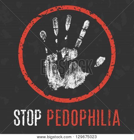 Global social problems. Pedophilia stop. Vector illustration