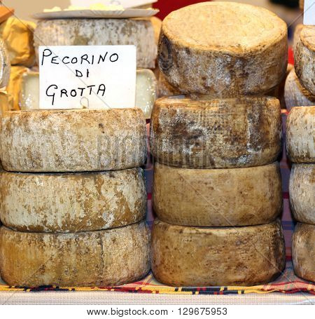 Aged Cheese Made With Sheep's Milk On Sale In The Mountain Dairy