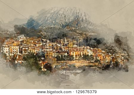Sella village old village in Spain. Alicante province. Digital watercolor painting