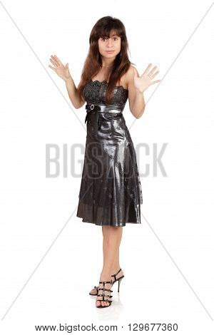 The surprised girl costs to the utmost in a black dress the brunette