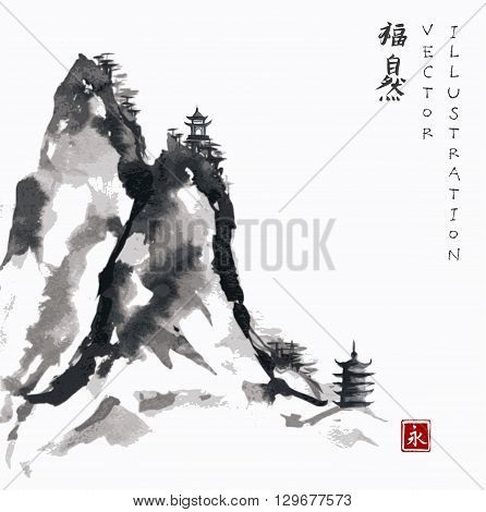 High mountains and pagodas hand-drawn with ink in traditional Japanese style sumi-e. Contains hieroglyph - happiness.