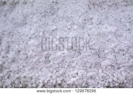 Close-up Of Window-sill After Hailstorm