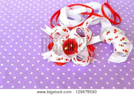 Hair accessory, red floral layered bow from ribbons, ribbons set