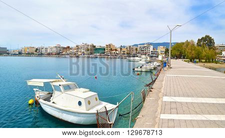 NAVARINOU ROAD, KALAMATA PELOPONNESE GREECE, SATURDAY 02 2016: panoramic photo of Navarinou street at Kalamata Peloponnese Greece. Editorial use.