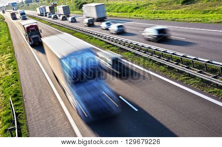 Four lane controlled-access highway in Poland. Transportation poster