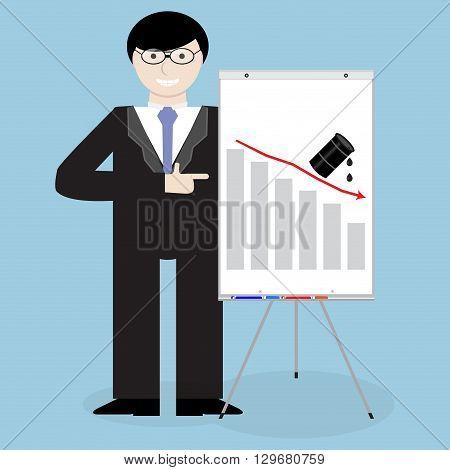 Man presentation crisis oil down fall. Oil business fall and whiteboard finance chart presentation. Vector flat design illustration