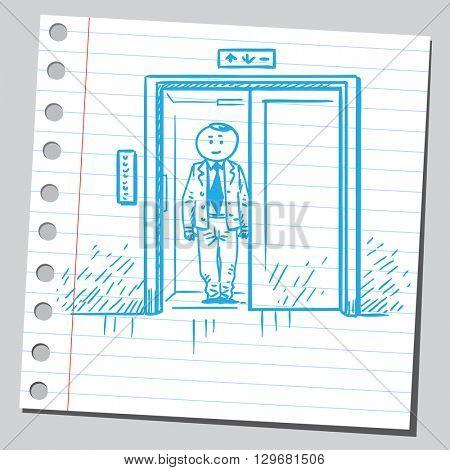 Businessman in elevator