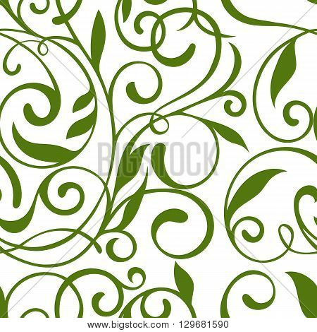 Seamless pattern with leaves. Floral seamless pattern. Vector background. Vintage pattern. Beautiful floral pattern. Vector.