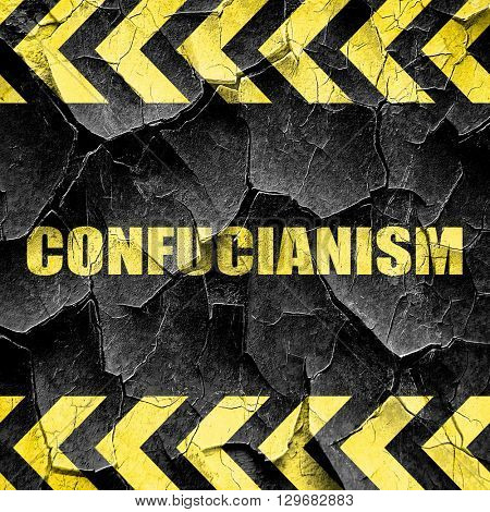 confucianism, black and yellow rough hazard stripes