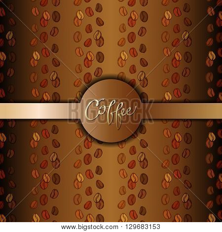 Coffee beans abstract brown gold background. Coffee seeds lines texture. Coffee banner design for coffee shop menu, , restaurant, cafeteria, coffee packaging, wrapping paper design. Vector illustration
