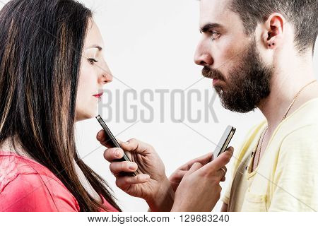 Woman Man And Smart Phones