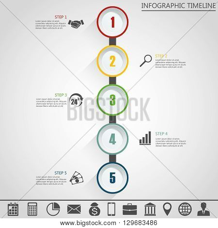 Infographic design template and marketing icons, Business concept with 5 options, parts, steps or processes. Can be used for workflow layout, diagram, number options, web design.