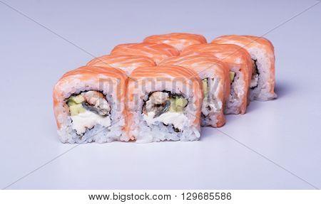 Traditional sushi set close up studio shot