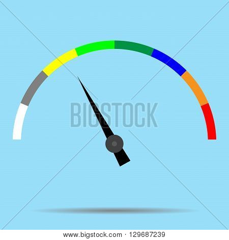 Indicator color spectrum barometer full vector. Index and pointer arrow car indicator and measure. Vector flat design illustration
