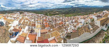 Spectacular aerial view panorama of Setenil de las Bodegas, a famous village de la Ruta de los Pueblos Blancos, white villages, between Cadiz and Malaga, Andalusia, Spain.