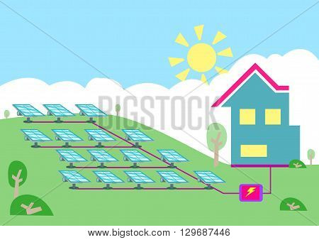 An array of solar powered cell converting sun energy  into electricity for homes. Editable Clip art.