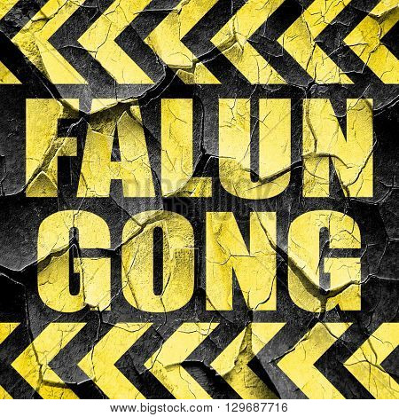 Falun gong, black and yellow rough hazard stripes