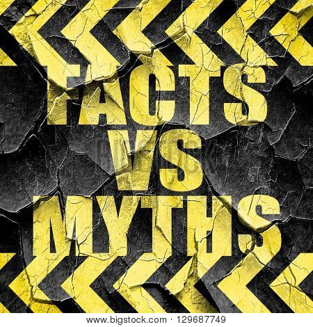 facts vs myths, black and yellow rough hazard stripes