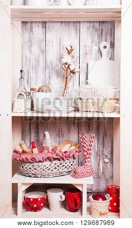 Lovely homeware and dishware in the kitchen at shabby chic style