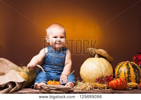 Cute baby with ears of wheat in the hands posing on the background of pumpkins.