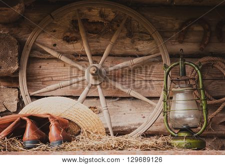 Rural retro still life. Table near the granary