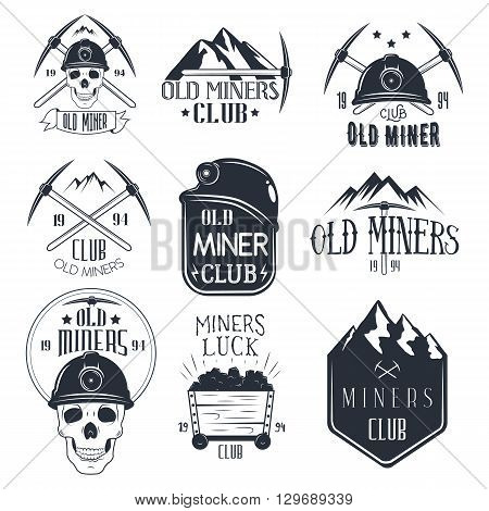 Vector set of mining labels in vintage style. Design elements, icons, logo, emblems and badges isolated on white background. Gold miners club.