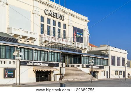 Povoa de Varzim, Portugal. December 28, 2015: Casino of Povoa de Varzim. One of the casinos of the Estoril-Sol III group, the largest casino group in Europe.