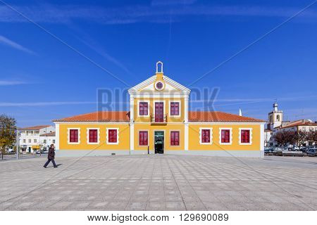 Nisa, Portugal. February 26, 2015: The Municipal Library of Nisa also known as Biblioteca Municipal Dr. Motta e Moura. Nisa, Portugal.