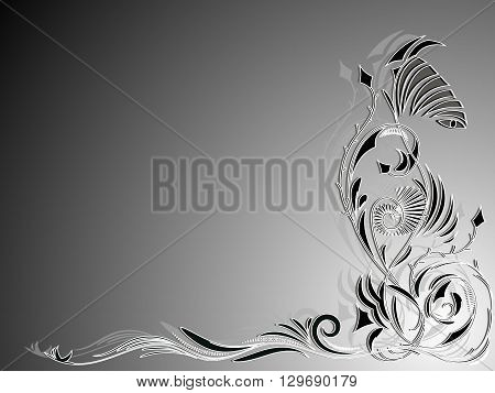 Background in black and white with abstract floral ornament in the corner, vector illustration