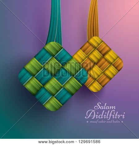 Ketupat (rice dumpling). Salam Aidilfitri means celebration day. Maaf zahir dan batin means please forgive (me) outwardly and internally.