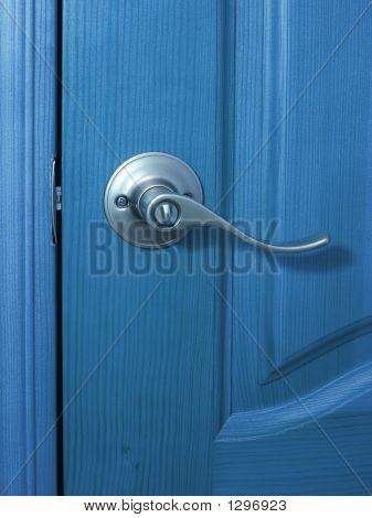 Blue Door And Handle