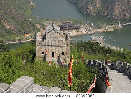 A tower on the Great wall of china Lakeside section also called Huanghua cheng in Beijing China.