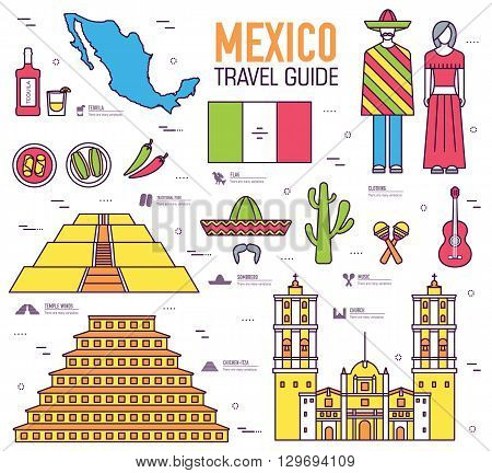 Country Mexico travel vacation guide of goods, places and features. Set of architecture, food, fashion, items, nature background concept. Infographics template design. On thin lines style