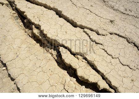 Large Cracks In Dried Mud