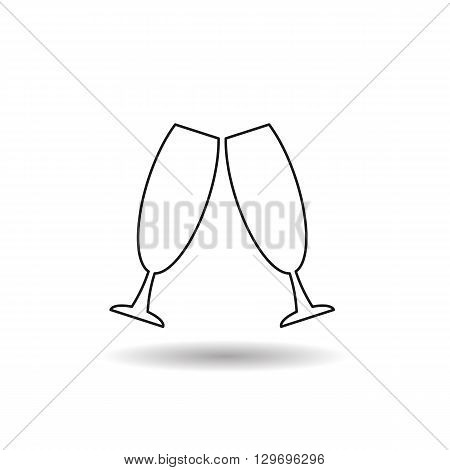 glass beverage black web icon, thin line illustration for mobile app color picture on a white isolated background with shadow