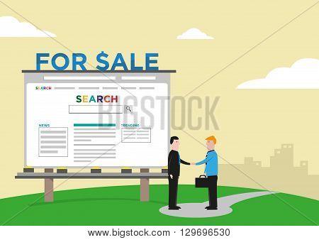 Website Company Sale Acquisition  Deal concept. Editable Clip Art.