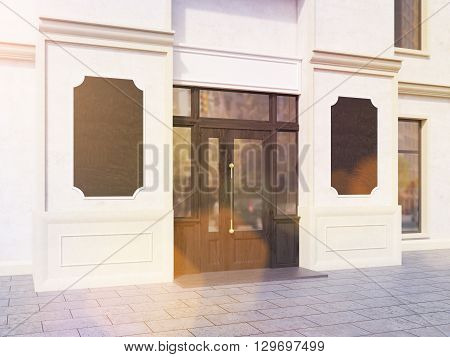 Toned Shop Exterior With Chalkboards