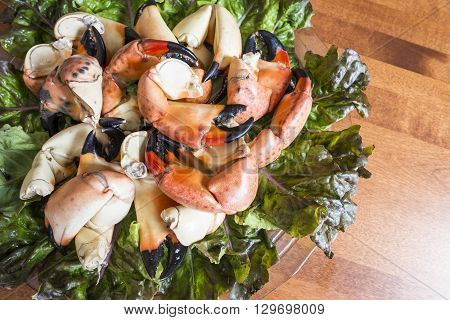 Cooked Stone Crab Claws on a Plate
