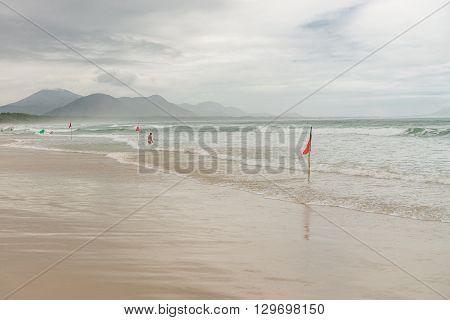 Barra Beach In Florianopolis Island In South Brazil.