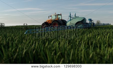 3d illustration of an orange tractor with spray fertilizer