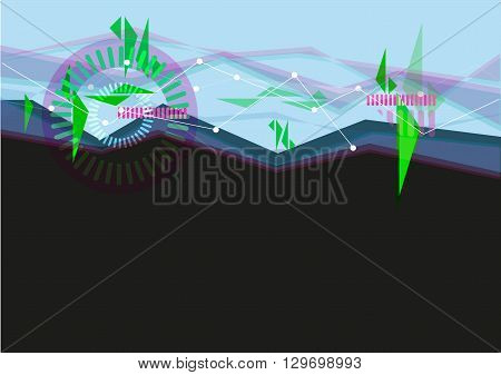 User Interface concept in Blue and Black with Abstract Waves. Editable Clip Art.