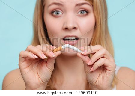 Girl Breaking Up With Cigarette.