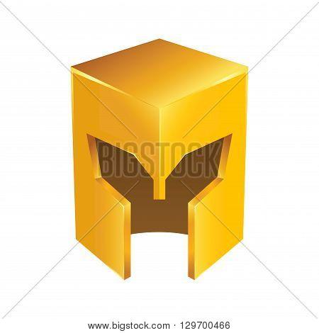 Vector stock of golden shiny medieval knight helmet