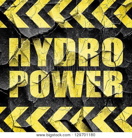 hydro power, black and yellow rough hazard stripes